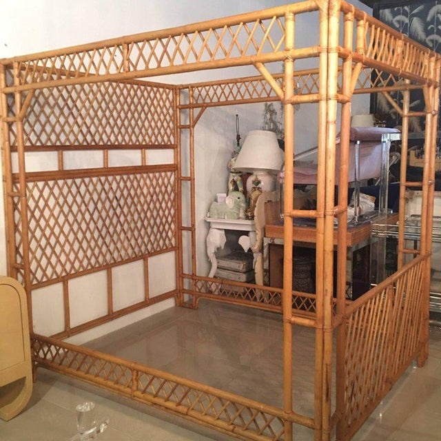 Rattan Bamboo Chinese Chippendale Queen Canopy Bed Chairish - Chinese chippendale bedroom furniture