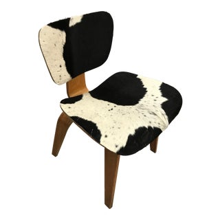Vintage Charles Eames Mid Century Modern DCW Plywood Lounge Chair Refinished in Pony Skin