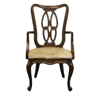 Late 20th Century Vintage White of Mebane Lorraine Louis XVI French Dining Arm Chair For Sale