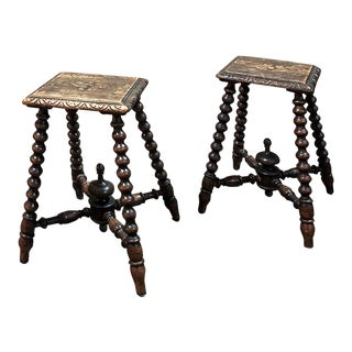Pair 19th Century Hand Carved Spool Leg Stools For Sale