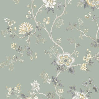 Lewis & Wood Indienne Green Glaze Botanic Style Wallpaper Sample For Sale