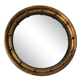 Vintage Convex Bullseye Wood Mirror For Sale