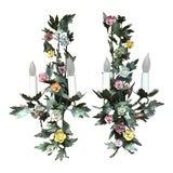 Image of 2 Italian Tole & Porcelain Flower Vintage Sconces For Sale
