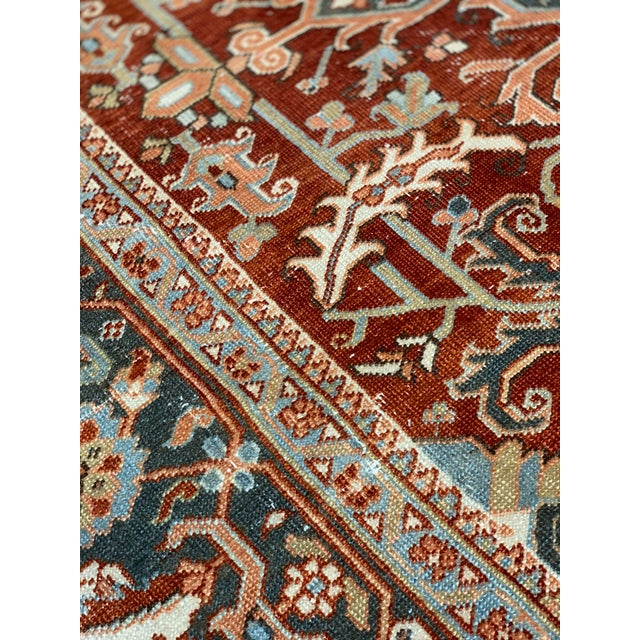 1920s Vintage Persian Heriz Area Rug - 9′5″ × 12′4″ For Sale - Image 12 of 13
