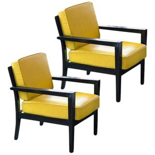 Pair of Midcentury Yellow Leather Armchairs For Sale