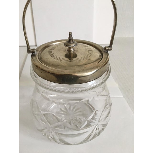 English Traditional 1930s Slack and Barlow English Cut-Glass and Silver Biscuit Jar For Sale - Image 3 of 11