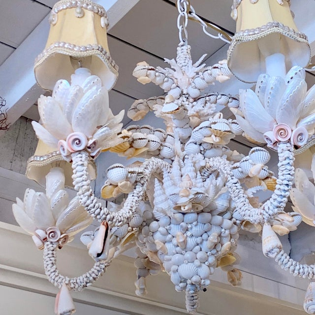 2010s Small Five-Light Shell Adorned Chandelier For Sale - Image 5 of 9