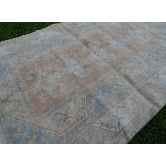 Distressed Oushak Hand Knotted Rug - 5′2″ × 8′4″ For Sale In Dallas - Image 6 of 9