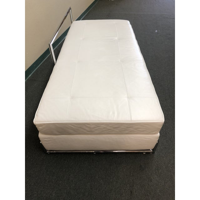 Design Plus Gallery presents Eileen Gray Day Bed. This beautiful piece is upholstered in white leather and the base is...