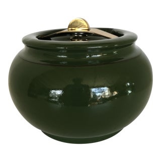 Green Tobacco Humidor Made by Royal Doulton in England With Sealable Spring Loaded Lid For Sale