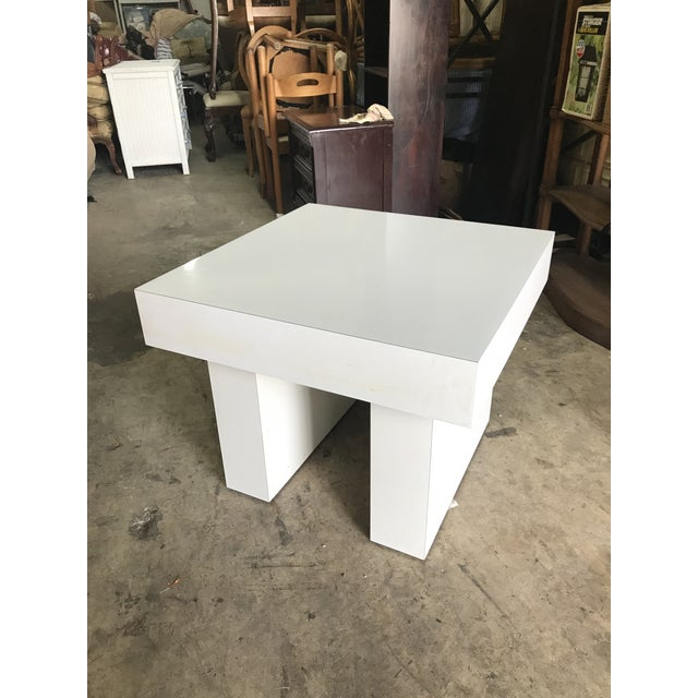 Mod White Laminate Parsons Side Table - Image 3 of 4