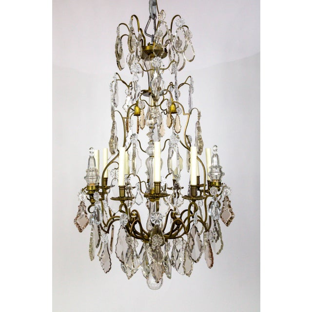 Tall Bronze Belle Epoque 21-Light Chandelier W/ Smoke & Mauve Crystals For Sale - Image 13 of 13
