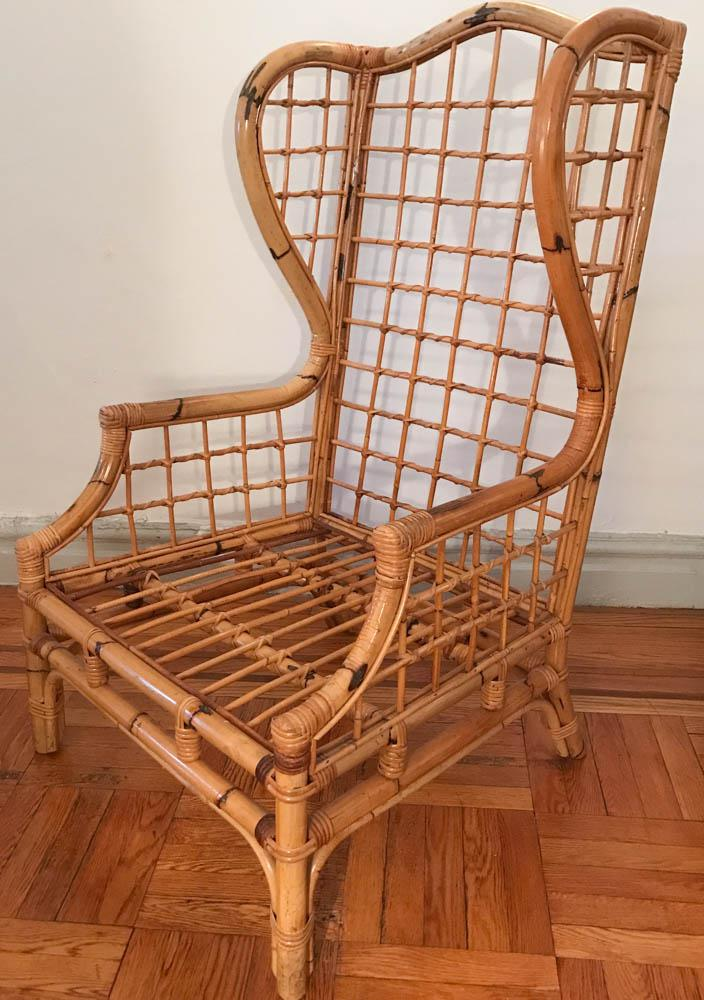Vintage Bamboo Rattan Wing Back Chair For Sale   Image 5 Of 9