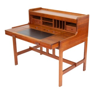 1970s Mid Century Modern Solid Teak Desk by John Mortensen for Dyrlund For Sale