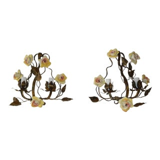 French Tole Porcelain Roses and Crystal Sconces, Circa 1920 For Sale