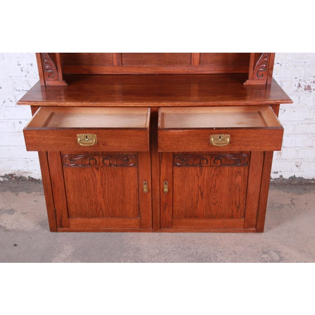 American Arts & Crafts Carved Oak Sideboard With Hutch For Sale In South Bend - Image 6 of 13