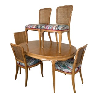 Mid Century Modern French Provincial Rway Dining Set - 5 Pieces For Sale