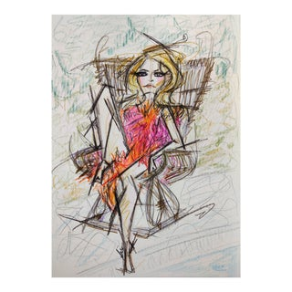 Color Pencil Sketch of 70s Icon Brigitte Bardot on A4 Hahnemühle Paper by Shirin Godhrawala ,2020 For Sale
