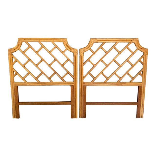Vintage Chippendale Styled Rattan Twin Headboards - a Pair For Sale