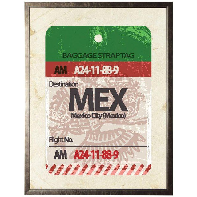 Illustration Mexico City Travel Ticket in Pewter Shadowbox - 23.5ʺ × 29.5ʺ For Sale - Image 3 of 3