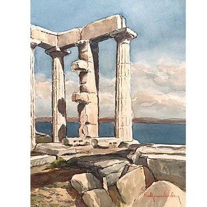 Grecian Ruins Temple of Poseidon Watercolor C.1950 - Image 1 of 5