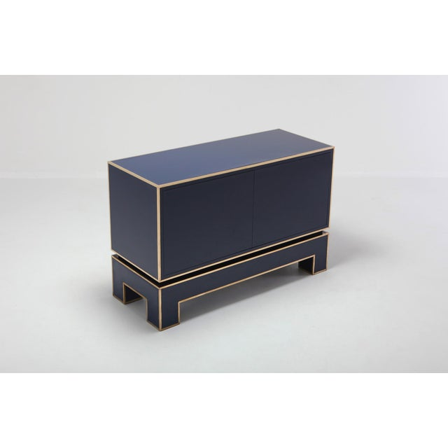 Brass and Blue Two-Door Cabinet Maison Jansen For Sale - Image 9 of 12