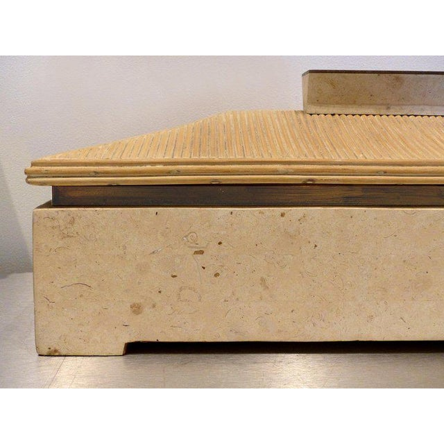 Tan Over-Scale Maitland-Smith Box With Fossilized Stone, Reed and Brass For Sale - Image 8 of 13