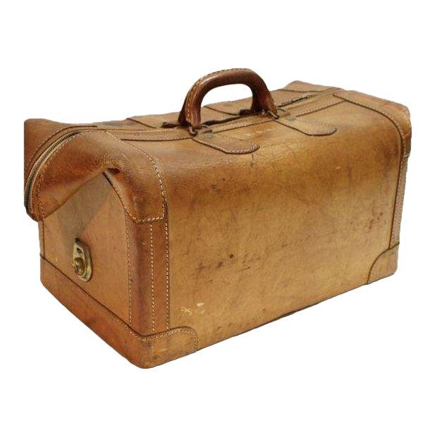 Vintage Leather Luggage Bag For Sale
