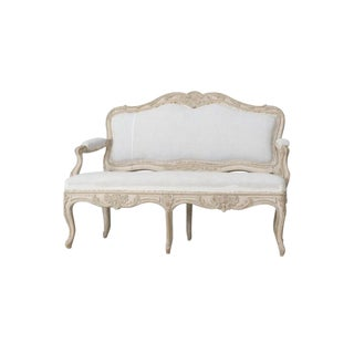 19th Century Swedish Carved and Painted Settee in the Rococo Style For Sale