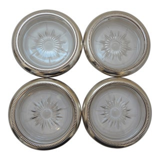 Vintage Mid-Century Leonard Italian Glass and Silver Coasters - Set of 4 For Sale