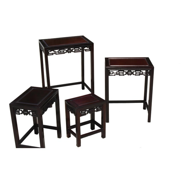 Chinese Rosewood Nesting Tables - Set of 4 For Sale - Image 10 of 13