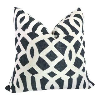 "20"" x 20"" Blue Imperial Trellis Decorative Pillow Cover For Sale"