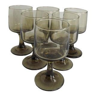 Vintage 1970s Libbey Amber Tawny Wine Glasses Goblets - Set of 6 For Sale