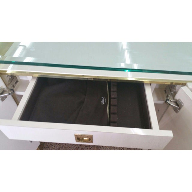 Brass Lacquer & Brass Sideboard Floating Glass Top For Sale - Image 8 of 12