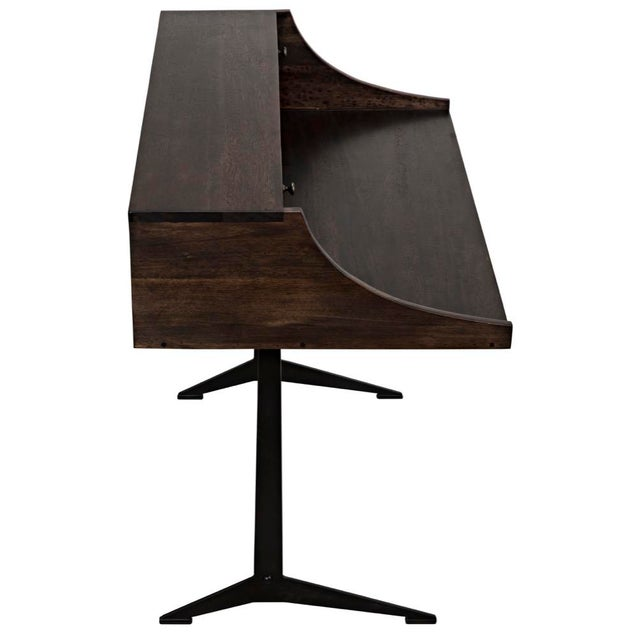 Croft Desk with Metal, Ebony Walnut For Sale - Image 9 of 12