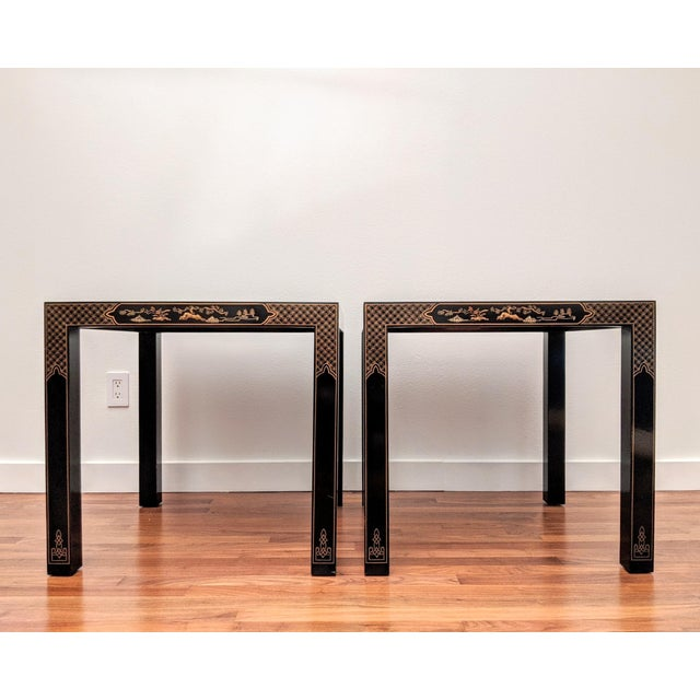 Black 1980s Chinoiserie Console Table & Side Tables, Set of 3 (Drexel - Et Cetera Collection) For Sale - Image 8 of 13