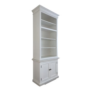 White Wood Bookcase With Doors For Sale