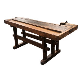 Vintage Hand Made Vermont Large Oak Work Table Console Bar For Sale