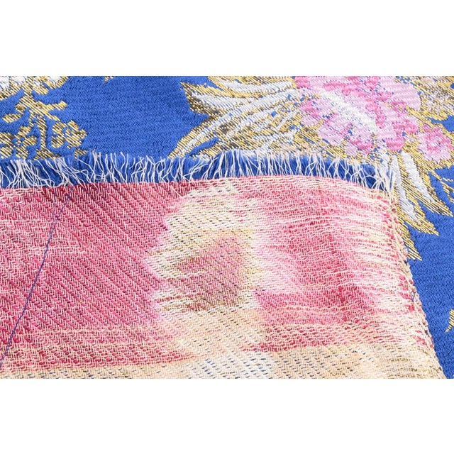 Late 20th Century Gold Embroidered Floral Silk Brocade Textile For Sale - Image 5 of 7