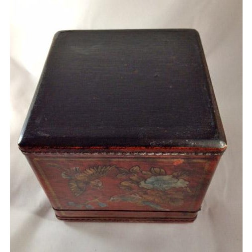Asian Chinoiserie Antiqued Red Wood Tissue Box - Image 7 of 7