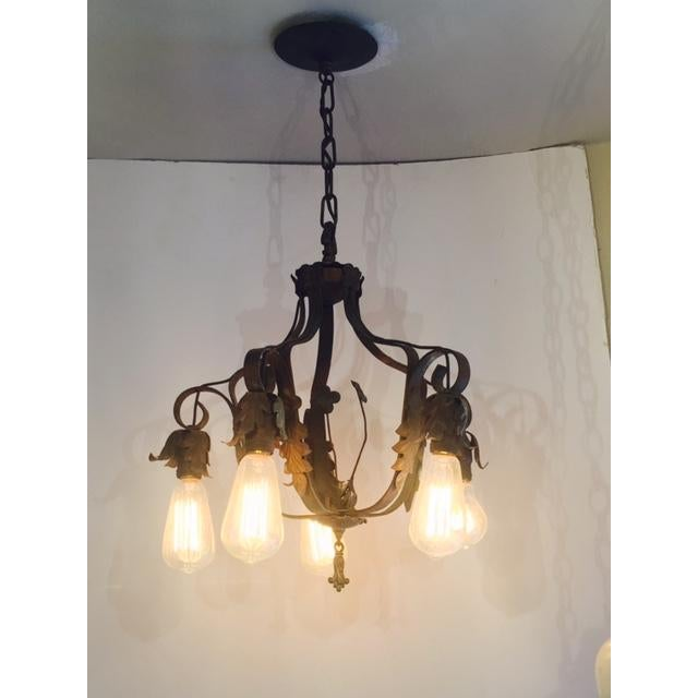 Spanish-Style Brass Chandelier - Image 4 of 6