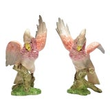 Image of Pink Cockatoos Pair of Parrots Figurine Sculptures by Fitz & Floyd 1986 - Signed -Large Scale - Mid Century Modern Palm Beach Boho Chic Birds For Sale