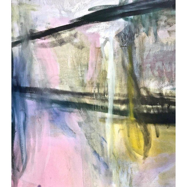 Late 20th Century Large Scale Abstract Painting, Custom Wood Frame For Sale - Image 5 of 12