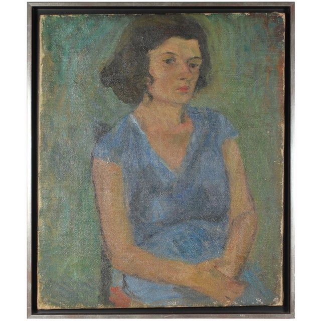 "Jennings Tofel 1940s ""Seated Woman in Blue"" Expressionist Portrait Oil Painting on Canvas For Sale - Image 4 of 4"