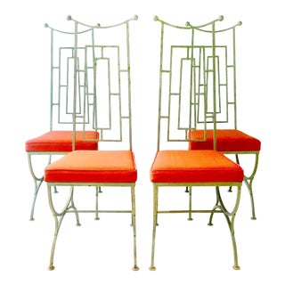 Set of Four Iron Chairs 1960s For Sale