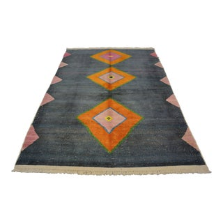 Turkish Geometric Modern Hand-Knotted Area Rug For Sale