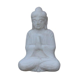Chinese White Marble Stone Sitting Buddha Adoration Posture Statue For Sale