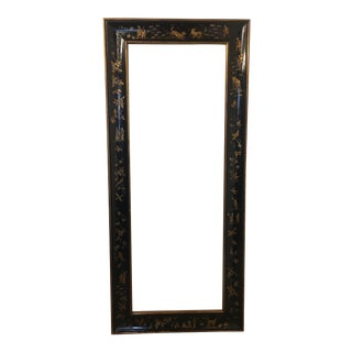 Black Chinoiserie Frame, Birds and Tiger Hunt For Sale