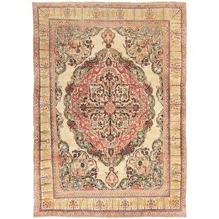Antique Kerman Persian Wool Rug - 9′ × 12′4″ For Sale
