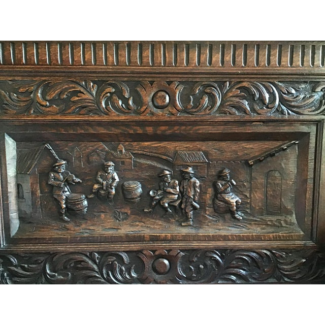Victorian Late 19th Century Antique Carved Oak Bench For Sale - Image 3 of 13
